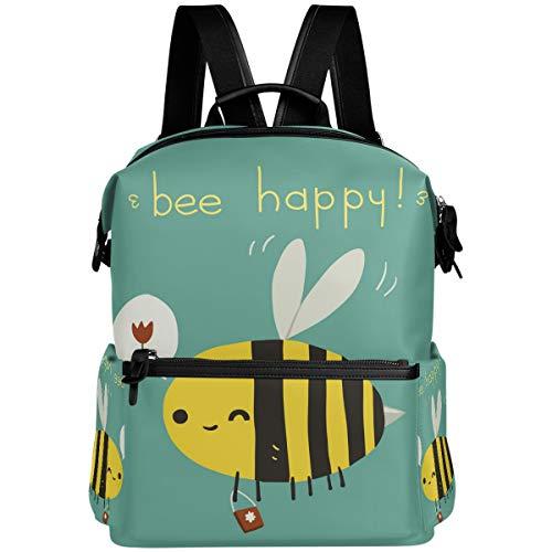 Oarencol Bee Happy Cartoon Cute Flower Mochila escolar Libro Viaje Senderismo Camping Portátil Daypack