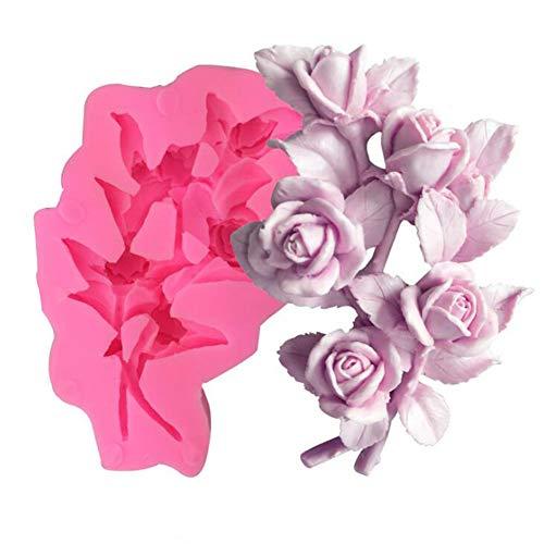 Molde de silicona para hacer jabón o velas en forma de flor de rosa 3D, molde de resina epoxi, moldes para hacer jabón, moldes de arcilla de resina