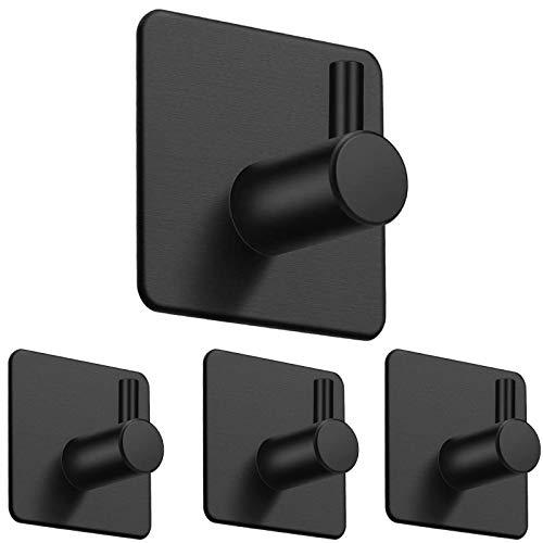 Ganchos de pared de alta resistencia, autoadhesivos, resistentes al agua, de acero inoxidable, para colgar abrigos, sombreros, toallas y albornoces, color negro