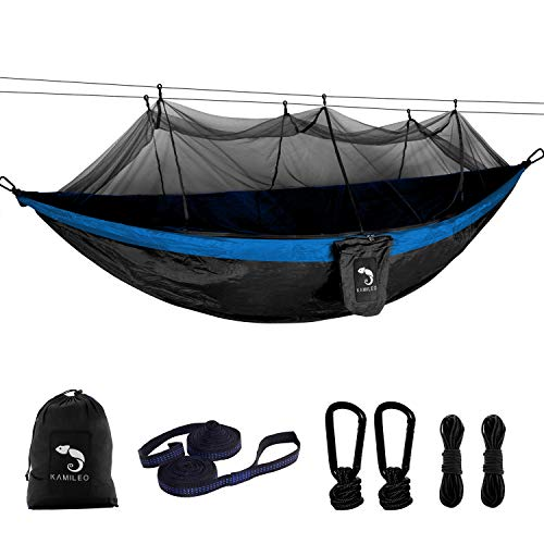 Camping Hammock with Bug Net Lightweight Portable Nylon Hammock Includes Hammock Tree Straps and Carabiners Great for Indoor Outdoor Backpacking Travel Hiking Beach Yard Double Hammock(Black Blue)