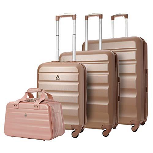 Aerolite Lightweight 4 Wheel ABS Hard Shell 4 Piece Lugagge Suitcase Set, 21' Cabin + 25' + 29' + 40x20x25cm Hand Cabin Shoulder Flight Bag Rose Gold + Rose Gold