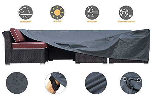 JCGARDEN Extra Large Outdoor Furniture Cover Waterproof Dust Proof Durable Patio Sectional Couch Cover Protective Loveseat Cover 98x98x28 Inch
