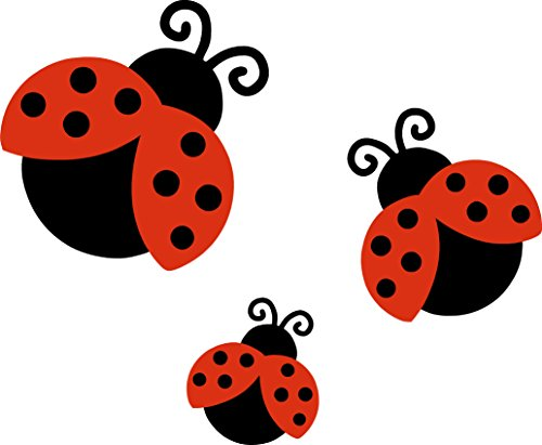LightningSigns 3 x Ladybird Car,Van,Wheelie Bin Camper Wall Nursery Stickers Decals LS2001