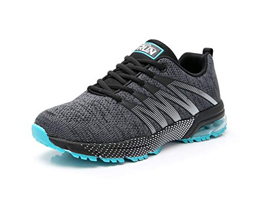 Axcone Mens Gym Running Walking Sport Lightweight Breathable Mesh Casual Shoes 8995gy43 Grey