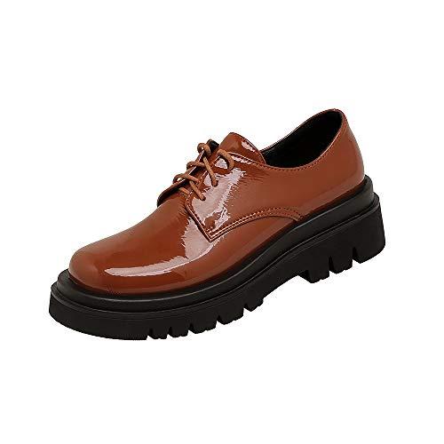 LanreyTaley Damen Beiläufig Schuhe Schnüren Oxford Schuhe Runder Zeh Hochschule Pumps Low Top Frühlingsschuhe Dicke Sohle Camel Size 37 Asian