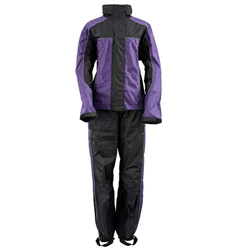Xelement RN4764 Ladies Black and Purple 2-Piece Motorcycle Rain Suit with Boot Strap - Large