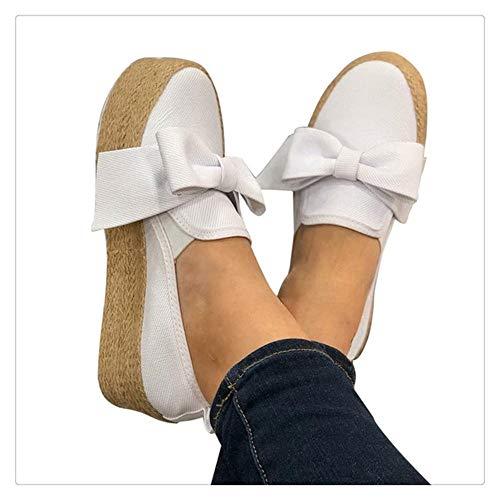 Aqiong Alpargatas Zapatos de Lona Otoño del Arco Mujeres de la Plataforma Slip-en Holgazanes Ocasionales Mujer vulcanizar Pisos señoras de Zapatos Ascensor Calzado Deportivo al Aire Libre