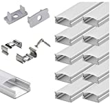 StarlandLed 10-Pack 6.6ft/ 2 Meter U Shape LED Aluminum Channel System with Milky Cover, End Caps...