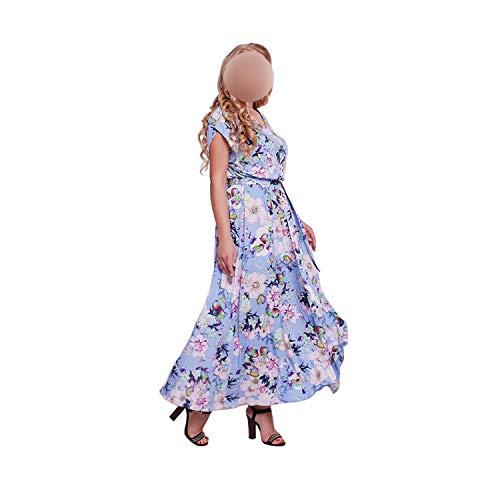 Dress Summer Plus Size Beach Party Long Dress Casual Loose Floral Print Chiffon Boho Dresses,02,XL
