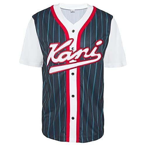 Karl Kani Varsity Block Pinstripe Baseball Shirt Navy (L)