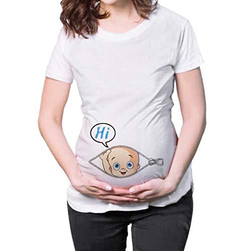Damen Kleid Fallen Schwangere Frauen der Frauen kurzärmeliges Karikaturbrief-Druckhemd T-Shirt Kleidung der schwangeren Frauen Umstandskleidung-Krankenpflege-Cocktailkleid