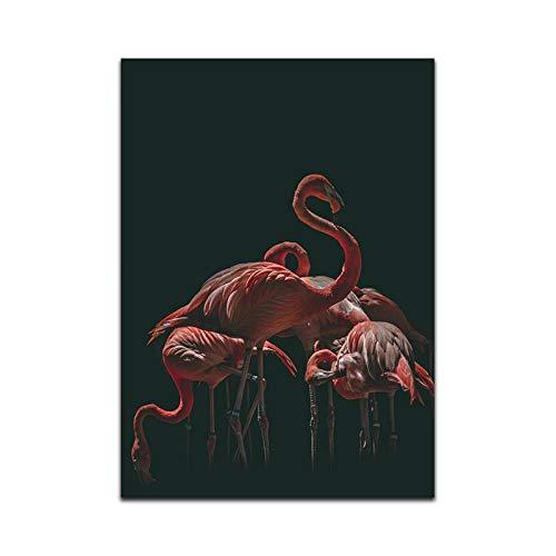 Imprimir En Lienzo Impresiones De Lienzo,Sin Marco Animal Nórdico Arte De La Pared Pintura En Lienzo Flamenco Impresiones Ornamentales Y Póster Decoración Del Hogar Para Sala De Estar Dormitori