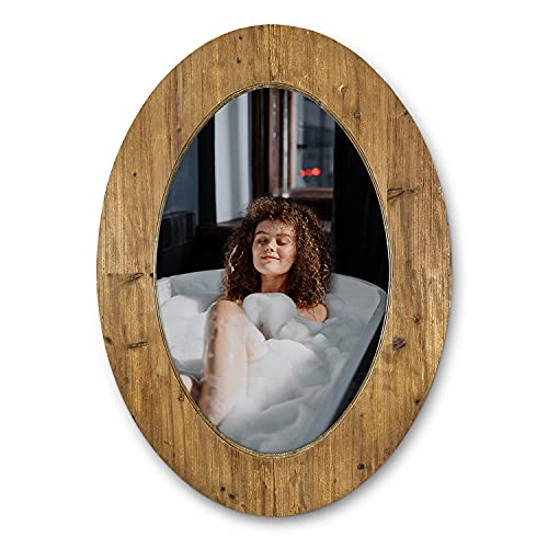 WOOCAFO Oval Mirror, Hanging Decorative Wooden Wall Mirror