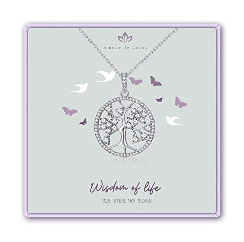 Tree of Life Necklace for Women,Cubic Zirconia 925 Sterling Silver Necklace Fine Jewelry,Jewelry Gifts for Mom Wife Girlfriend & Girls