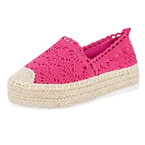 Zapatos Mujer 2020 Moda Zapatillas Plataforma Hueca Para Mujer Zapatos Casuales Color Sólido Transpirable Cuña Alpargatas Elegante Zapatillas Bajos Bohemia Zapatos Para Fiesta (43, Hot Rosa)
