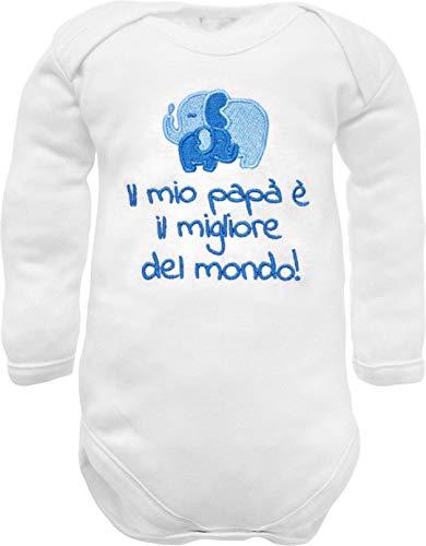 Body de bebé de manga larga con bordado frase nacimiento papá il mio papá è il best del mundo con elefantes bordados - idea regalo nacimiento masculino bianco manica lunga 6-9 Meses