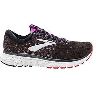 Brooks Womens Glycerin 17 Running Shoe - Black/Fiery Coral/Purple - B - 7.5