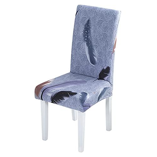 Paquete de 4 Fundas Cortas para sillas de Comedor Estampadas, elásticas, extraíbles, Lavables para Cocina, hogar, Restaurante, Hotel, Ceremonia, Banquete, Boda, Fiesta (Azul)