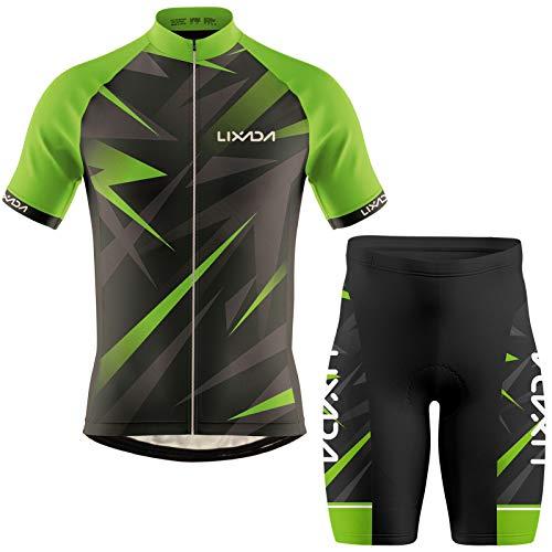 Lixada Ropa de Ciclismo para Hombre,Manga Corta Transpirable + Pantalones Cortos Acolchados,Traje de Ropa de Bicicleta de Montaña (Verde+Negro, XL)