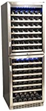 EdgeStar CWR1551DD 155 Bottle Double Door Dual Zone Built-In Wine Cooler - Black and Stainless Steel