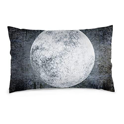 Fundas de Almohada Fondo de Grunge de 16X24 Pulgadas con Luna Llena en la Noche Oscura y Espeluznante Cielo Nublado Fundas de Almohada Sofá Funda de cojín de Coche Decorativo para el hogar 40X60CM