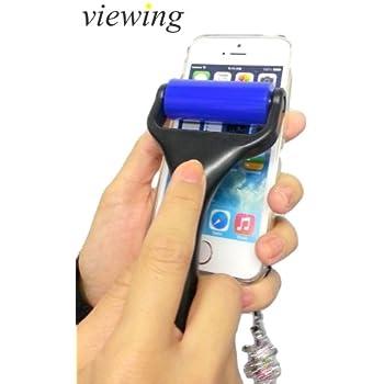 viewing(ヴューイング) 洗って繰り返し使える 液晶画面 クリーニング コロコロ シリコン クリーナー eRoller (イーローラー) VRH-2000 iPhone6S 6Sプラス iPad mini Air Android スマートフォン スマホ 液晶 タッチパネル クリーナー (ハンドルタイプ・簡易カバー付(ブルーローラー/黒ハンドル))