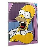 SHINIUCUN Simpson Homer Cortinas de ducha Personalidad Resistente al agua Impresión 3D Poliéster Cortina de ducha 55x72 pulgadas con 12 ganchos de plástico