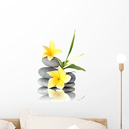 Wallmonkeys FOT-24765827-18 WM336408 Yellow Flowers on Stacked Stones Peel and Stick Wall Decals (18 in H x 12 in W), Small