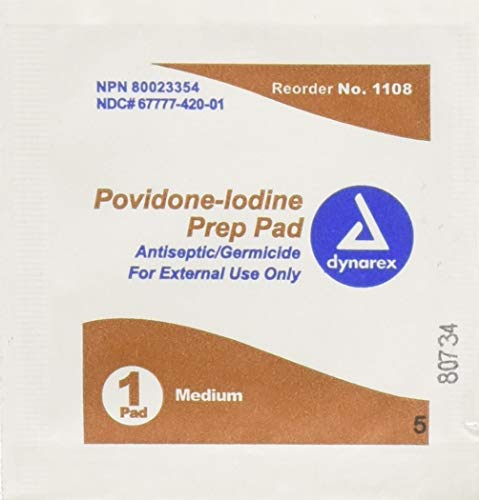 Dynarex 1108 Dynarex Povidone Iodine Prep Pads (Case -10 Boxes of 100)