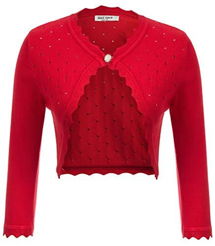 Womens Bolero Open Front Cardigan 3/4 Sleeve Solid Versatile Shrug Crop Tops Red L