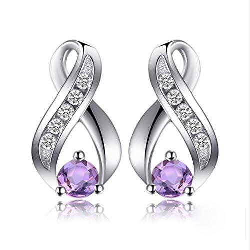 Damen Geschenk Synthetisch Saphir Tropfenschliff 925 Sterling Silber Ohrringe Ohrhänger,Lila