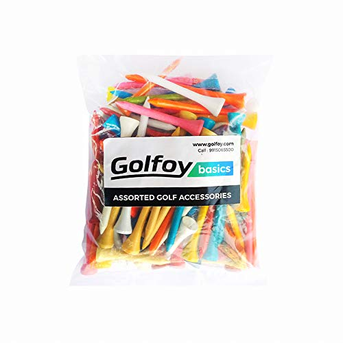 Golfoy Basics Assorted Mixed Colored Wooden Golf Tees (100 Count)
