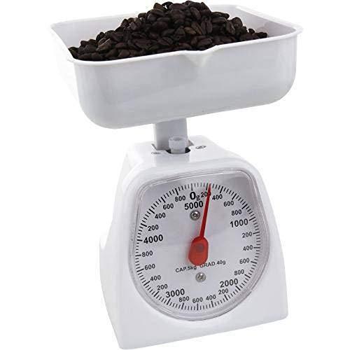 Balança De Cozinha Analógica Ponteiro 5kg Com Bandeja Cor:Branco