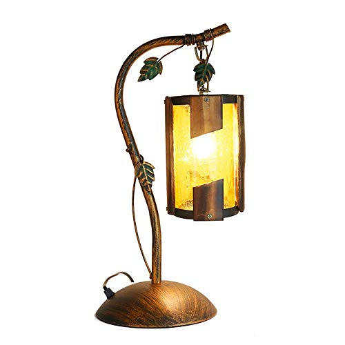 DKEE Lámparas de Mesa Hierro lámpara de Escritorio, Dormitorio Estudio lámpara de bambú, Creativo Decorativo Lámpara de Aceite (240 mm de Ancho, 480 mm de Altura, Boca E27)
