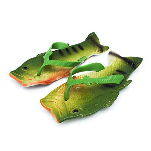 Coddies Fisch Flops | Die originalen Fisch-Schlappen | Witziges Geschenk, Unisex Sandalen, Barsch Schlappen, Pool-, Strand- & Duschschuhe | Männer, Frauen & Kinder (38/39 EU Grün)