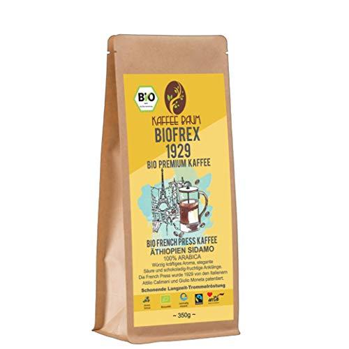 BIOFREX 1929 von Kaffeebaum | BIO French Press Premium Kaffee | 100% Arabica | Frenchpress Filterkaffee | Kaffeegenuss aus Äthiopien | Kaffee gemahlen 350g | BIO-Qualität