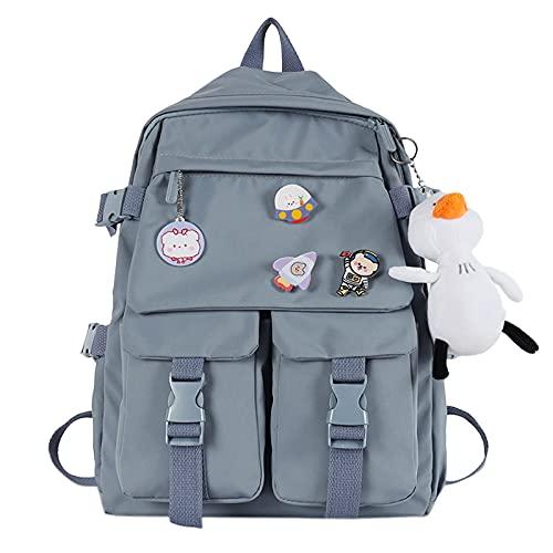 Briskorry Kawaii Mochila para niña y mujer, con peluche, bonita mochila para el colegio o para el colegio o para viajar, color rosa, negro, blanco y azul, azul2, Einheitsgröße