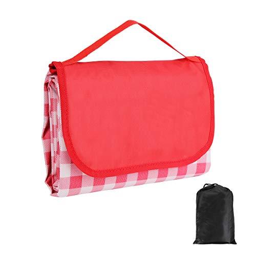 Manta de pícnic resistente al agua, 200 x 200 cm, lavable, para exterior, playa, aislante, resistente a la arena, con asa y bolsa de transporte