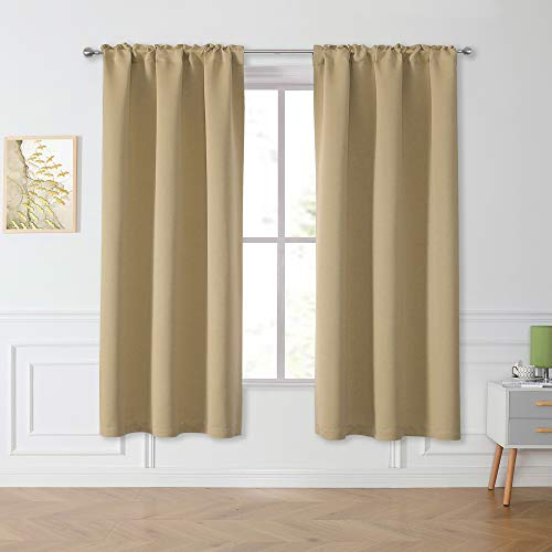 Window Beige Curtains Blackout Drapes 63 Inch - Privacy Protect Thermal Insulated Rod Pocket Light Blocking Curtains Draperies for Living Room Bedroom (2 Panels, 42W x 63L)