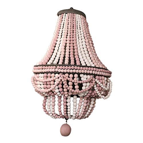 Spots muraux Applique Matériau en Bois Massif Bombe De Perles Lampe pour Enfants Princesse Rose Perles en Bois Suspension Applique De Vestiaire 33cm (Color : Pink, Size : 33 * 18 * 54cm)