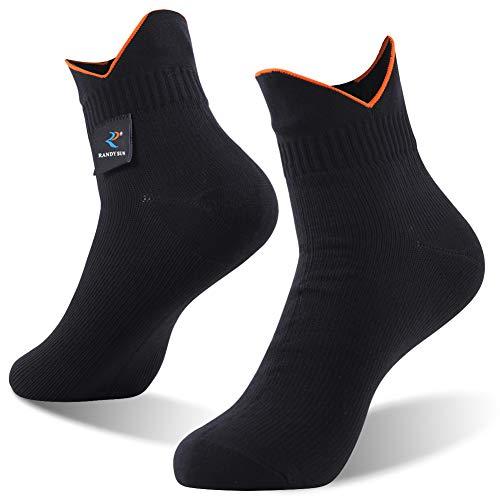 100% Waterproof Socks, RANDY SUN Breathable Unisex Running Kayaking Hiking in the Rain Socks, 1 Pair-Black-Ankle socks,L