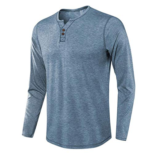 Rebajas Camiseta Hombre Manga Larga Basica Camisetas Algodón Ropa Casual Henley Tops Deportivo Sweatshirt Cómodo Color Sólido con Botón Blusa T-Shirt Yvelands(Azul,S)