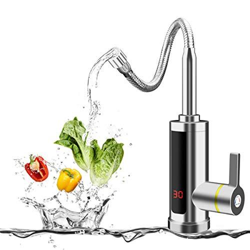 BOOMING 3 segundos de grifo de agua caliente, calentador de agua eléctrico con pantalla LED, 3000 W Tankless eléctrico, grifo de calentamiento instantáneo