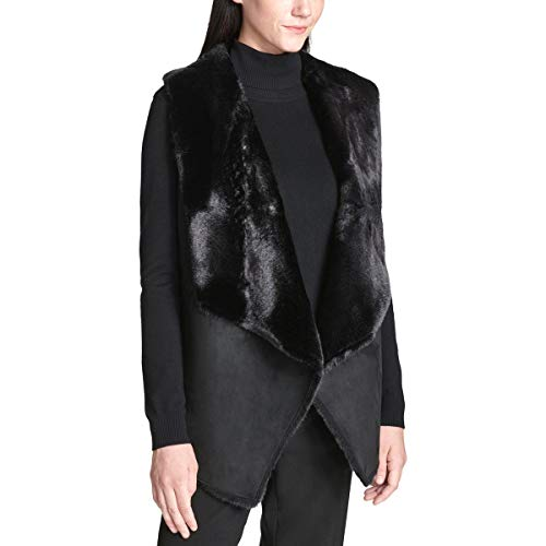 Calvin Klein Damen Shearling FUR Vest Fellweste, schwarz, Mittel