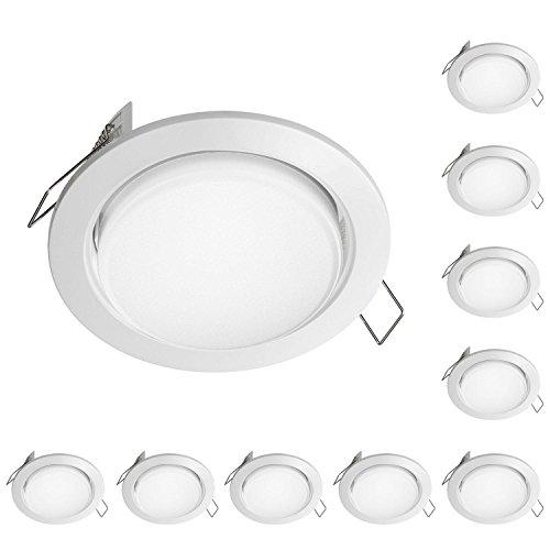 ledscom.de LED Einbauring Zobe flach GX53 weiß rund 6.3W=40W 450lm 107mm Ø Lochkreis 90mm Ø, 10 STK.