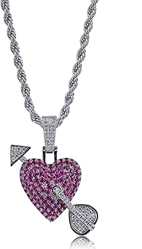 hiphop Necklace, Broken Heart Chain Necklace &Amp Pendant Iced Out Bling...