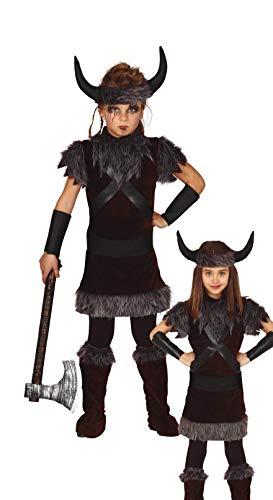 Generique - Wikinger-Kostüm für Mädchen Karnevals-Verkleidung Kinder grau-braun-schwarz - 110/116 (5-6 Jahre)