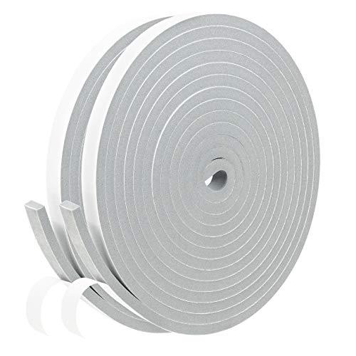 Gray Doors Windows Weather Stripping- 2 Rolls, 1/2 Inch Wide X 1/4 Inch Thick, High Density Foam Seal Tape Neoprene Rubber Weatherstrip for AC Window Unit, Door Insulation, 13 Ft X 2, Total 26 Feet