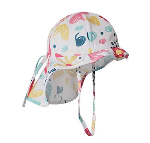 Licus Sonnenhut für Babys und Kinder, Cartoon, UV-Schutz, Strandhut mit Kinnriemen Gr. 68, Blumen Weiß