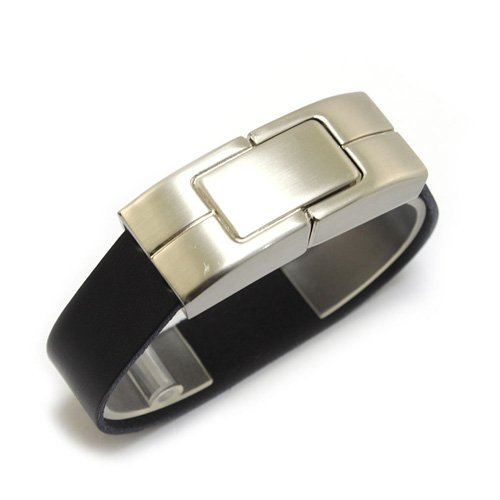 Sonline Bracciale in ecopelle chiavetta USB 2.0 8G nera